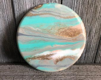 """Mini Resin Artwork """"Juno"""" Hand-Poured and Blow Torched. 7 Inch Circle. Modern Wall Art. Small. Jupiter Inspired."""
