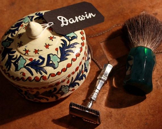 Luxury Organic Shaving Soap - DARWIN - in Hand-Painted Ceramic Pot
