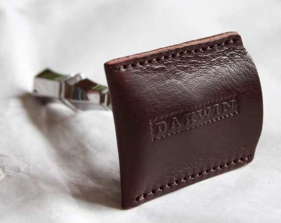 Genuine Dark Brown Leather Sheath for your Safety Razor Head - DARWIN
