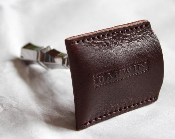 Genuine Dark Brown Leather Sheath for your Safety Razor Head - DARWIN