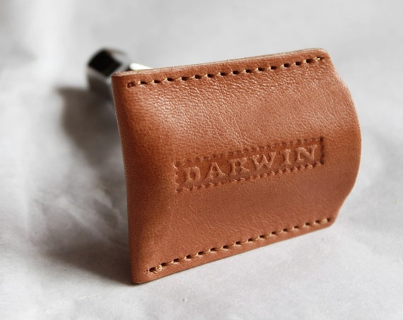 Genuine Camel-Brown Leather Pouch for your Safety Razor Head - DARWIN