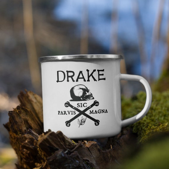"Drake's ""Skull and Crossbones"" Enamel Mug by Darwin"
