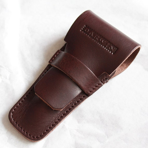 Universal Genuine Leather Case for Safety Razors - DARWIN - Dark Brown