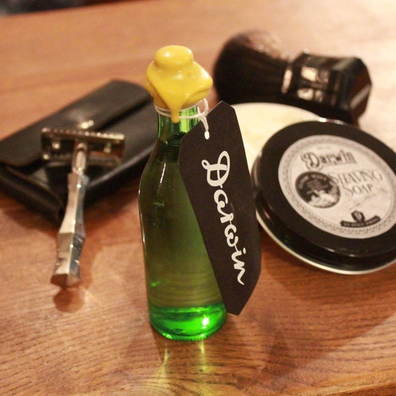 """Organic Aftershave Lotion in Vintage Martini Bottle - DARWIN """"Classic"""" - Made in France"""