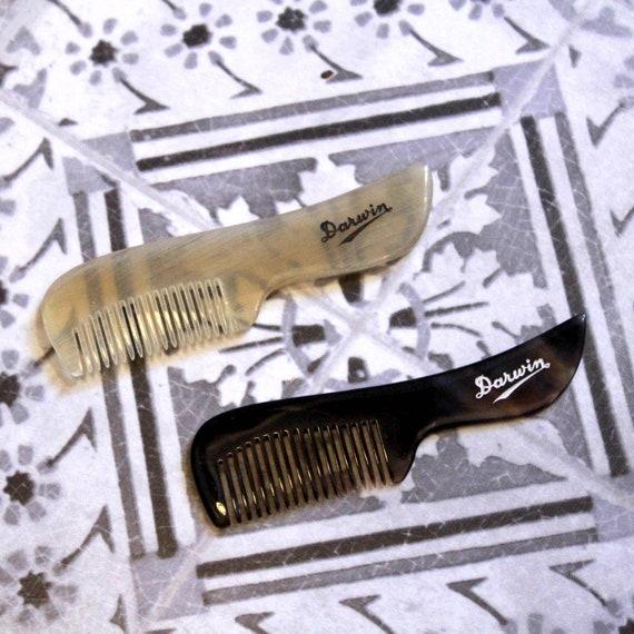 Luxury DARWIN Moustache Comb - Genuine Horn