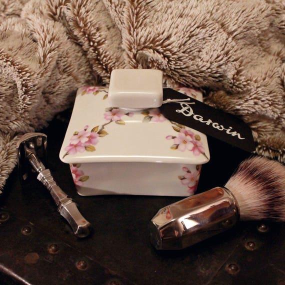 """Luxury Organic Shave Soap - DARWIN """"Classic"""" - in White Porcelain Bowl with Pink Flowers Decor"""