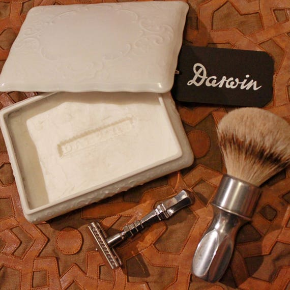 "Luxury Organic Shave Soap - DARWIN ""Classic"" - in White Rectangular Porcelain Bowl"