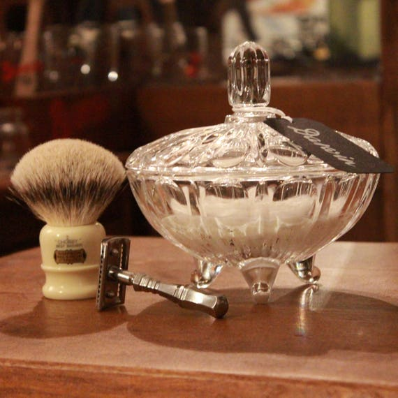 """Luxury Artisan Shaving Soap in Gorgeous Glass bowl - DARWIN """"Classic Scent"""" Handmade in France"""