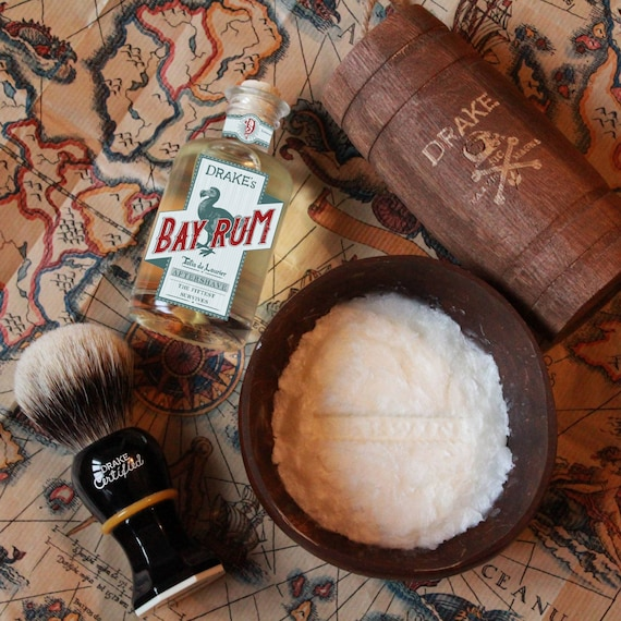 Drake's Bundle 2 - Brush + Bay Rum Shaving Soap + Aftershave - DARWIN - Made in France
