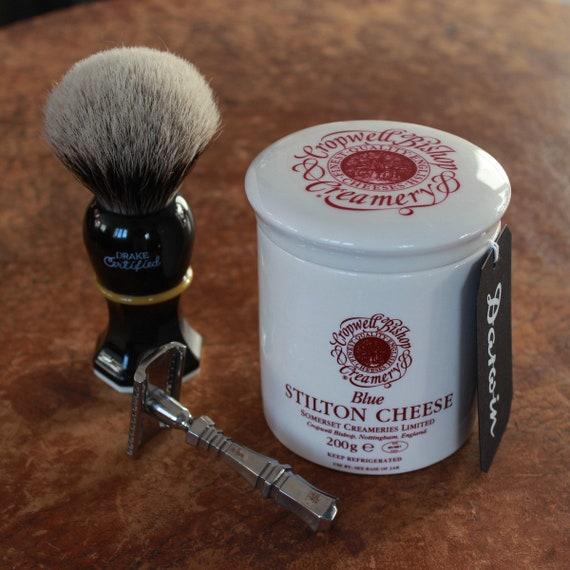 "Luxury Shaving Soap in ""Blue Stilton"" Ceramic Bowl - DARWIN ""Classic Scent"""