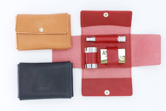 Deluxe Travel Pouch in Genuine Dark Red Leather for Safety Razors - DARWIN