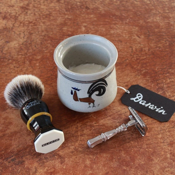 "Luxury Shaving Soap in ""Roosters"" Stoneware Bowl - DARWIN ""Classic Scent"""