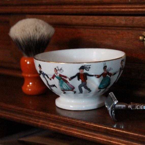"Luxury Organic Shaving Soap - DARWIN - in Painted ""Bretagne"" Porcelain Bowl"