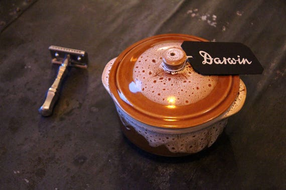 """Luxury Shaving Soap """"Classic Scent"""" in Brown and White Ceramic Bowl - DARWIN"""