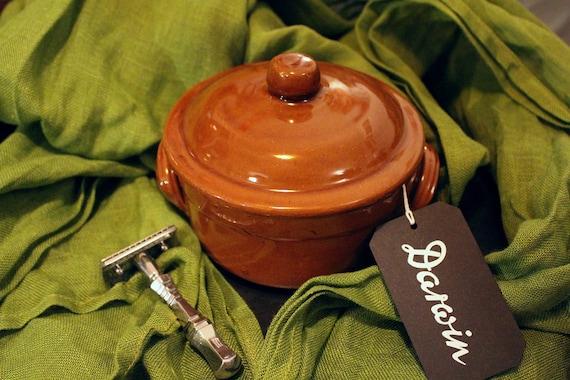 "Luxury DARWIN ""Classic Scent"" Shaving Soap in Large Brown Ceramic Pot"