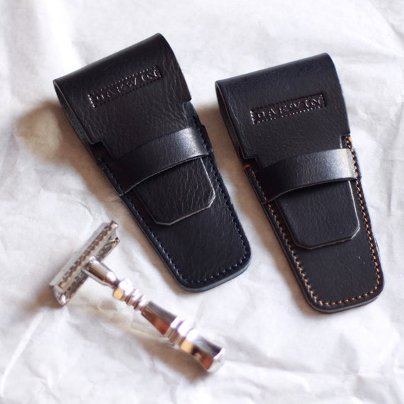 Luxury Universal Leather Sheath for a Safety Razor - DARWIN - Marine Blue