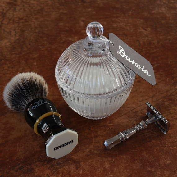 """Luxury Shaving Soap in Lined Glass bowl - DARWIN """"Classic Scent"""""""