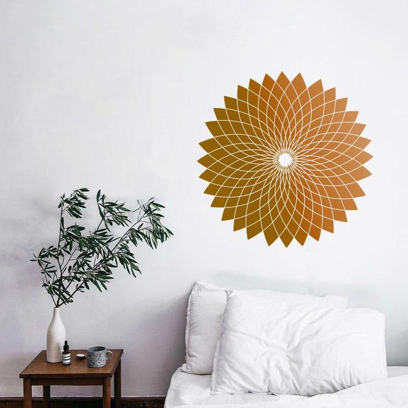 Lotus Flower Sacred Geometry Geometric Wall Decal Line Circle Etsy