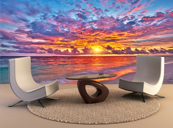 Sunset Over Ocean Wall Mural Wall Decal Removable Wall Etsy