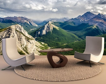 Mountain range landscape view in Jasper Wall Mural, Wall Decal, Removable Wall Wallpaper Wall Mural Wall Decal, Wall Art