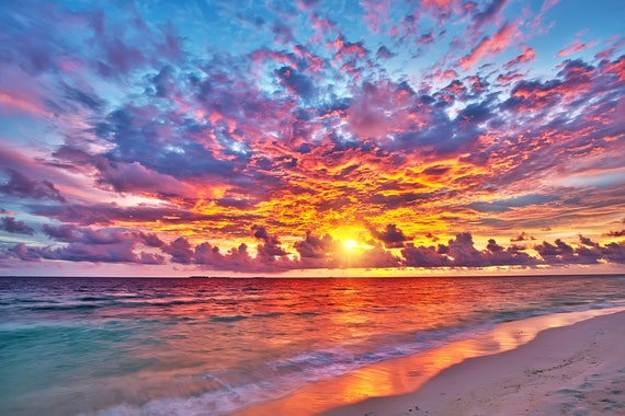 Wall covering Wall Mural Sunset over ocean 3 Wallpaper Wall Decal