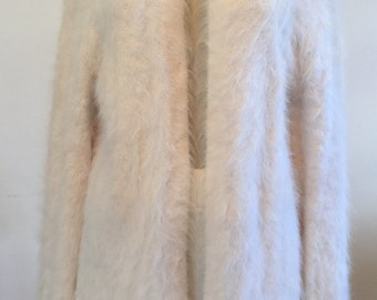 45c8c8d1a 100% FRENCH ANGORA Rabbit Hair Off White Jacket Cardigan Sweater