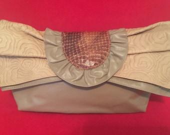 Vintage pochette convertibles bandoulière sac à bandoulière en cuir & bruns Taupes lézard