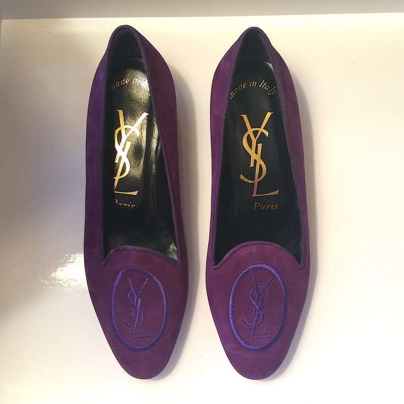b2bef36c Yves Saint Laurent Women's YSL Logo Purple Suede Leather Loafers Shoes  Flats 7.5M