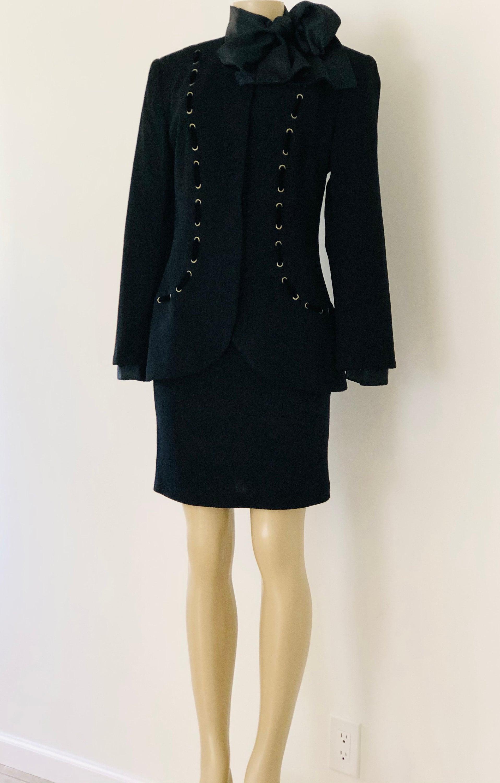 Vintage Scarf Styles -1920s to 1960s Vintage 1980S Black Wool  Velvet Short Skirt Suit, 3 Piece Blouse Jacket Set Outfit, Size 8 $0.00 AT vintagedancer.com