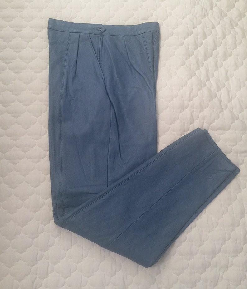 Slacks Pants Never Worn Size 8 WEST BAY 100/% Genuine Leather Lamb Napa Trousers Periwinkle Blue
