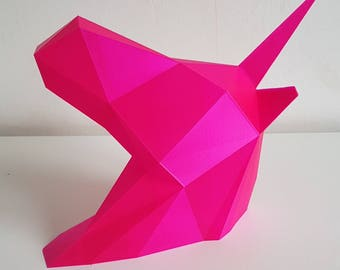 Unicorn Wall Geometric Art - Wall Mount- 3D Printed - Multiple Colours Available