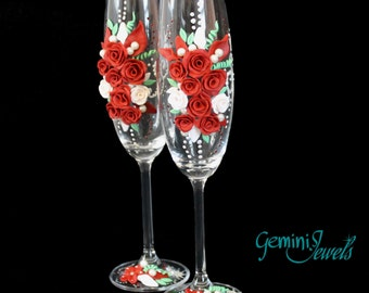 Wedding flutes, hand decorated with polymer clay and beads, red and white