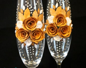 Wedding flutes, hand decorated with polymer clay and beads, golden wedding