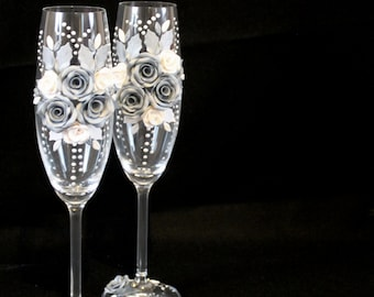 Wedding flutes, hand decorated with polymer clay and beads, silver wedding