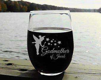 Godmother Gift, Wine Glass with Fairy Godmother Design, Elegant Will You Be My Godmother Gift, Godmother Wine Glass