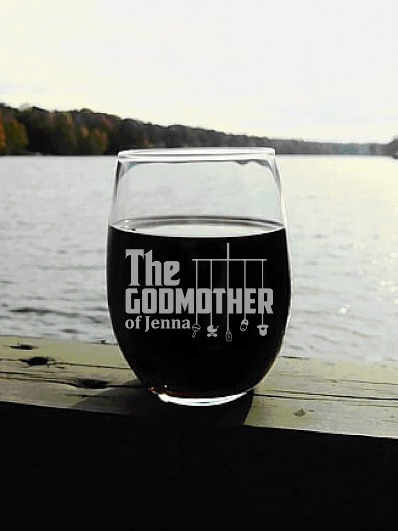 Personalized Godmother Gift Wine Glass with The Godmother image 0