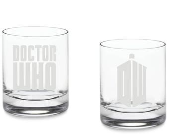 Dr. Who inspired Rocks Glass.-SET OF TWO(2) - Dalek- Dr doctor Who Inspired whiskey glass