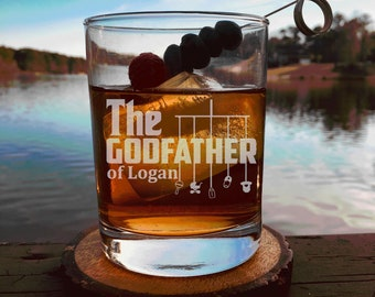 Godparent Gift, Personalized Godfather Gift,Rocks Glass, Whiskey Glass ,Will You Be My Godfather Gift, Baptism Gift, For The Godfather,