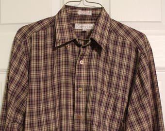 Vintage 1980s Country Club Plaid Button Up Shirt