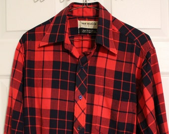 Vintage 1980's Van Heusen Acrylic Button-Up Plaid Shirt