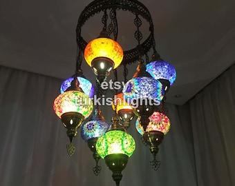 Turkish chandelier etsy 9 ball turkish sultan mosaic chandelier multi color aloadofball Images