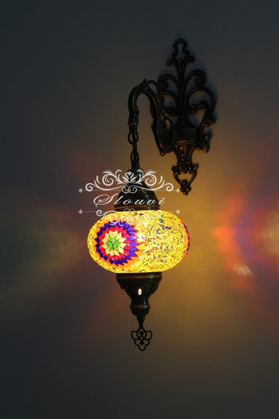 TURC style marocain Mosaïque Multicolore mur Appliques Lampe grand globe