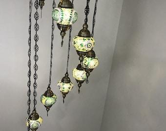9 Ball Turkish  Mosaic Chandelier, Green