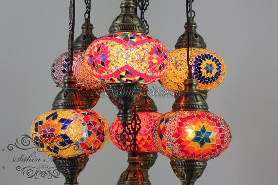 TURKISH LAMP GLOBE TURKISH MOSAIC CHANDELIER 7-BALL TURKISH THE LIGHTS