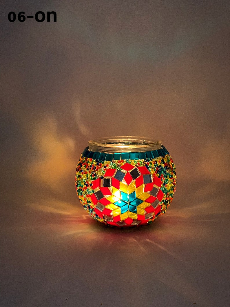 139 Set Of 4 Turkish Mosaic Candle Holders,ID