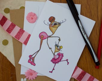 Ballerina Multi-Purpose Card, Blank Inside, Perfect for Little Sister, Big Sister, Dancer's Birthday