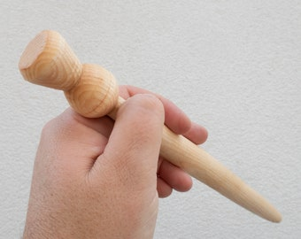 Spurtle for stirring porridge or stew. Turned on a pole lathe