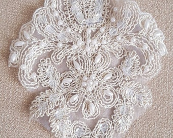 Vintage wedding lace embellishment statement piece beaded bridal crafting scrapbook.