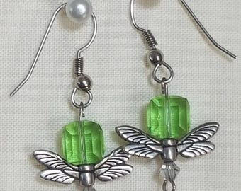 Swarovski Crystal drop earrings with dragonfly wings