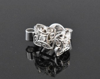 vintage 18K White Gold Diamond Stud Earrings